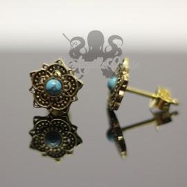 Paire de boucles d'oreilles Fleur en bronze & Turquoise