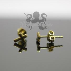 Paire de boucles d'oreilles Croix en bronze
