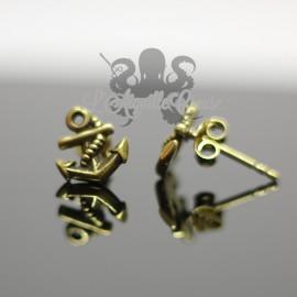 Paire de boucles d'oreilles Ancre en bronze