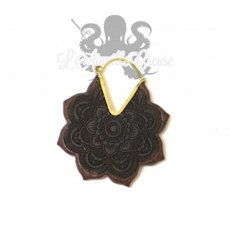 Paire de boucles d'oreilles Mandala en bronze & en bois
