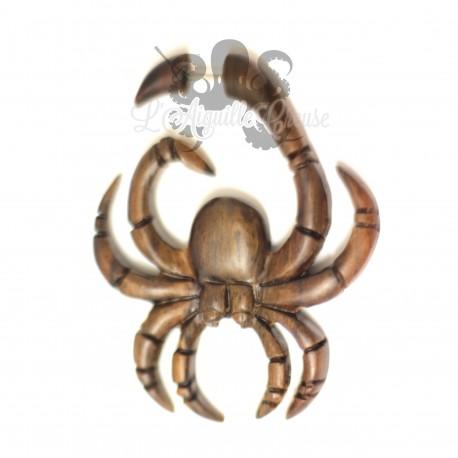 Boucle d'oreille Araignée en bois sculptée