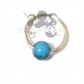 Anneau & bille de 6 mm en turquoise