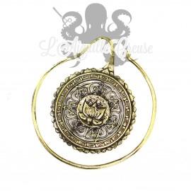 Boucle d'oreille / Accessoire pour tunnel Mandala & lotus, en Bronze