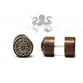 Faux plug en bois de Narra et incrustation de métal