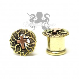 Plug Croix en Bronze & Cuivre