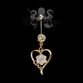 Bijou de nombril Coeur plaqué or 14 carats