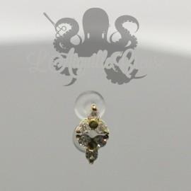 Tréfle de zircons griffé d'or jaune 18 carats