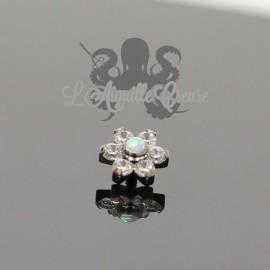 Fleur QualiTi en titane, opale synthétique & zircons - 6.7 mm