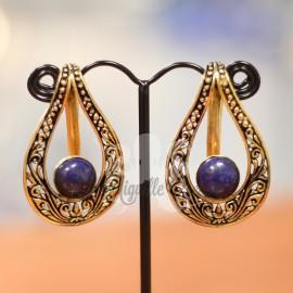 Paire de poids en bronze & lapis lazuli