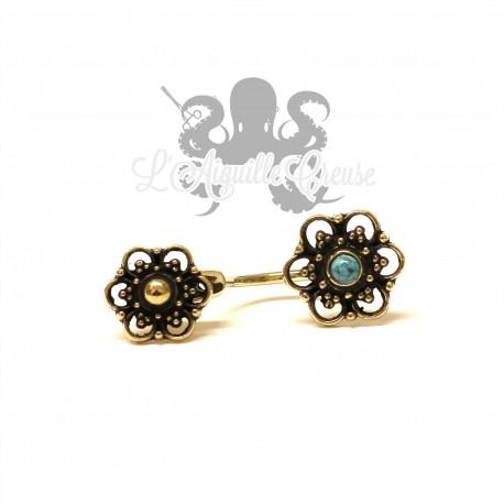 Paire de boucles d'oreilles Double Fleurs en bronze & pierre fine