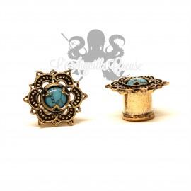 Plug en Bronze cuivré & turquoise