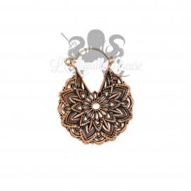Paire de boucles d'oreilles en bronze cuivré Mandala