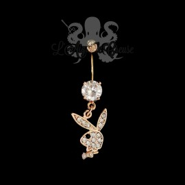 Bijou de nombril Playboy plaqué or rose 14 carats