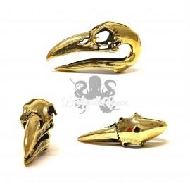 Paire de poids crânes d'oiseaux en bronze
