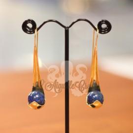 Paire de boucles d'oreilles en bronze & Lapis Lazuli