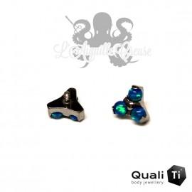 Accessoire QualiTi en titane & trio d'opales synthétiques - pour 1.2 mm