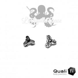 Accessoire QualiTi en titane & Mini trio de zircons - pour 1.2 mm