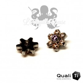 Fleur QualiTi en titane & zircons - 6.7 mm pour 1.6 mm