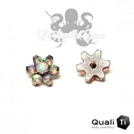 Fleur QualiTi en titane & opales synthétiques - 6.7 mm pour 1.2 mm