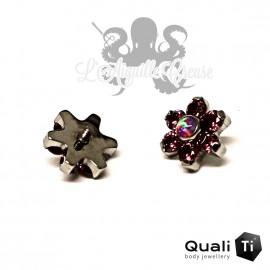 Fleur QualiTi en titane, opale synthétique & zircons - 6.7 mm pour 1.2 mm