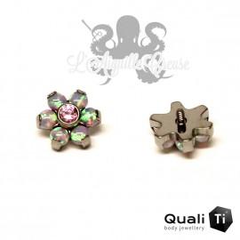 Fleur QualiTi en titane, zircon & opales synthétiques - 6.7 mm pour 1.2 mm