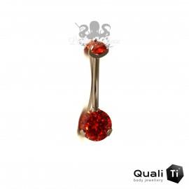 Bijou de nombril QualiTi en Titane implantable & zircon rouge