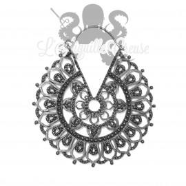 Paire de boucles d'oreilles en argent 925 et bronze gun metal