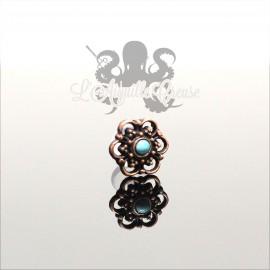 Accessoire en bronze cuivré Fleur & turquoise clipable