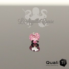 Accessoire QualiTi Coeur en zircon & en titane - pour 1.2 mm