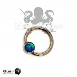 Anneau titane & opale synthétique QualiTi