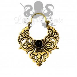 Paire de boucles d'oreilles en bronze & onyx
