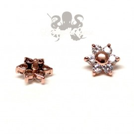 Fleur en zircons ronds, en or rose 14 carats pour 1.2 mm