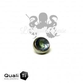 Accessoire QualiTi en zircon bleu clair aqua et titane - pour 1.2 mm