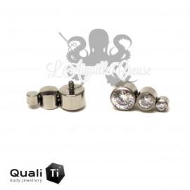 Accessoire QualiTi en titane & 3 zircons CURVE- pour 1.2 mm
