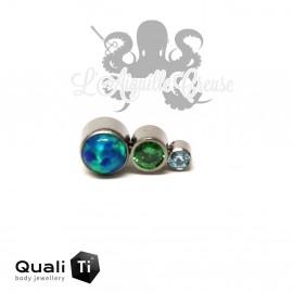 Accessoire QualiTi en titane, 3 zircons & opales synthétiques CURVE- pour 1.2 mm