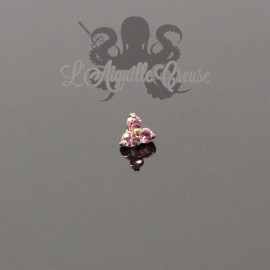 Accessoire en Or 18 carats & Saphirs roses, pour bijou en 1.6 mm