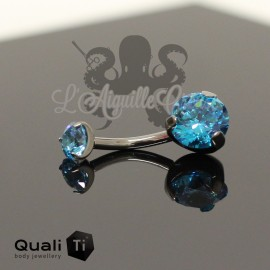 Bijou de nombril QualiTi en Titane implantable & zircon - 10 mm
