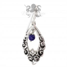 Paire de boucles d'oreilles en bronze plaqué argent et Lapis Lazuli