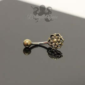 Bijou de nombril fleur en bronze