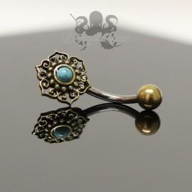Bijou de nombril Fleur en bronze & pierre fine