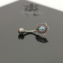 Bijou de nombril Fleur en argent 925 & turquoise
