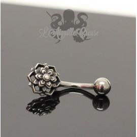 Bijou de nombril Fleur en argent 925