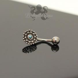 Bijou de nombril Fleur en argent 925 & pierre fine