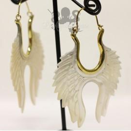 Paire de boucles d'oreilles en bronze & nacre