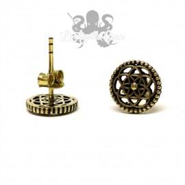 Paire de boucles d'oreilles Atomes bronze