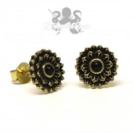 Paire de boucles d'oreilles Fleur en bronze & pierre fine