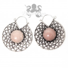Paire de boucles d'oreilles plaqué Argent 925 & Quartz rose