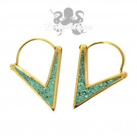 Paire de boucles d'oreilles en bronze & turquoise