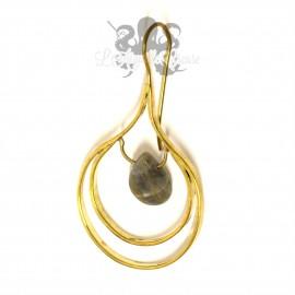 Paire de boucles d'oreille en Bronze & Labradorite