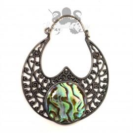 Paire de boucles d'oreilles en argent 925, bronze gun metal & abalone